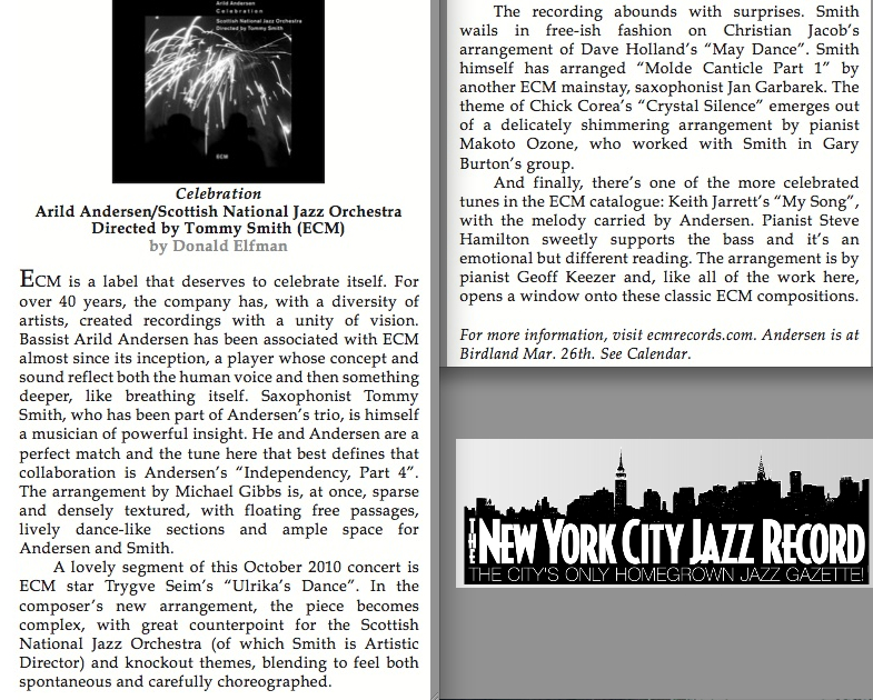Review Of «Celebration» New York City Jazz Records | Arild Andersen